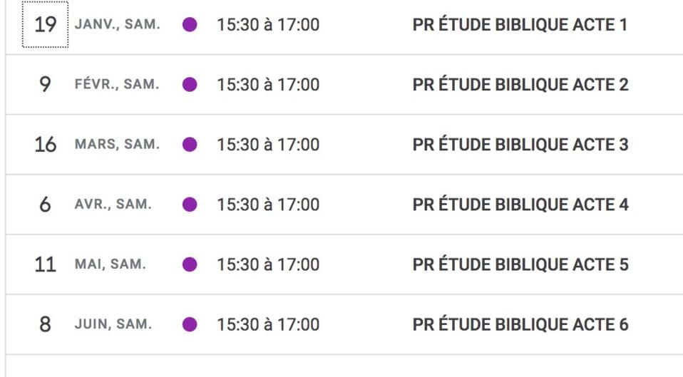 DATES DES ÉTUDES BIBLIQUES À PORT ROYAL