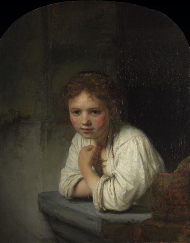 Rembrandt van Rijn, Fille à la fenêtre; Cliquer pour agrandir