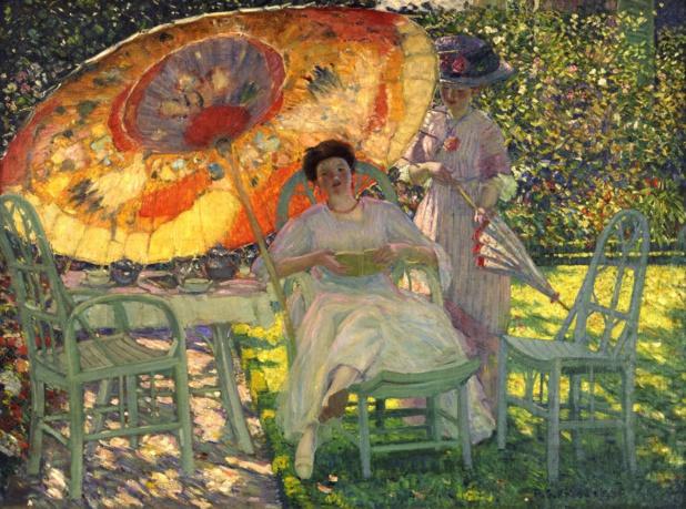 Frederick Carl Frieseke Le parasol de jardin. Cliquer pour agrandir