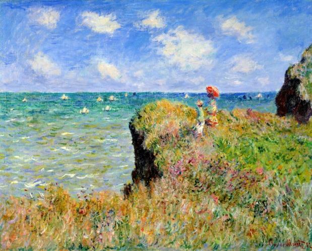 Claude Monet Promenade au Sommet d'une Falaise à Pourville. Cliquer pour agrandir