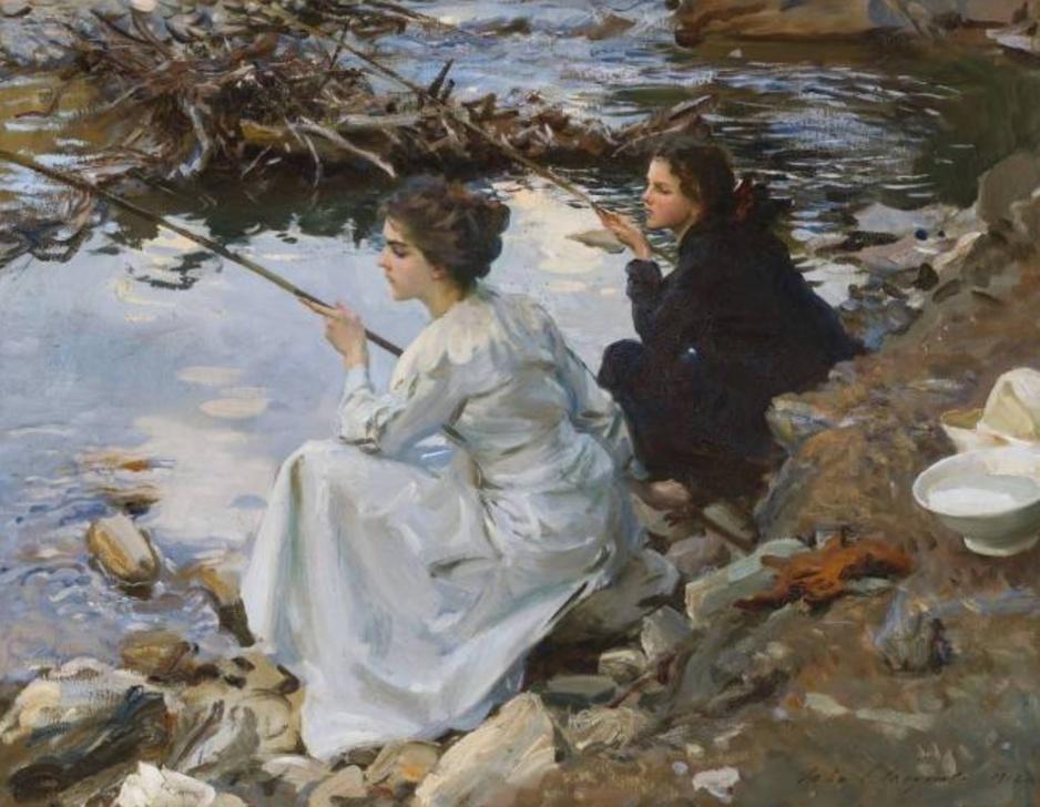 Deux jeunes filles pêchant, par  John Singer Sargent