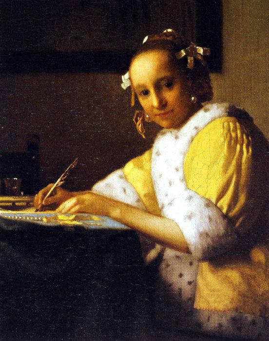 « Jeune fille écrivant une lettre » Vermeer