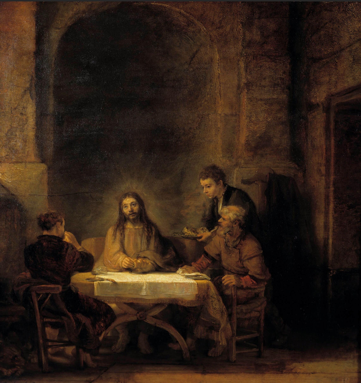Rembrandt, Les Pèlerins d'Emmaüs, 1648  Huile sur toile • 68 × 65 cm • Coll. Musée du Louvre, Paris • © Photo Josse / Leemage