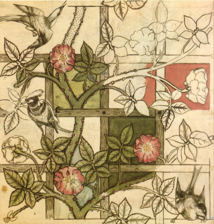 William Morris Le Voleur de fraise (Motif de fleurs et d'oiseaux); cliquez pour agrandir