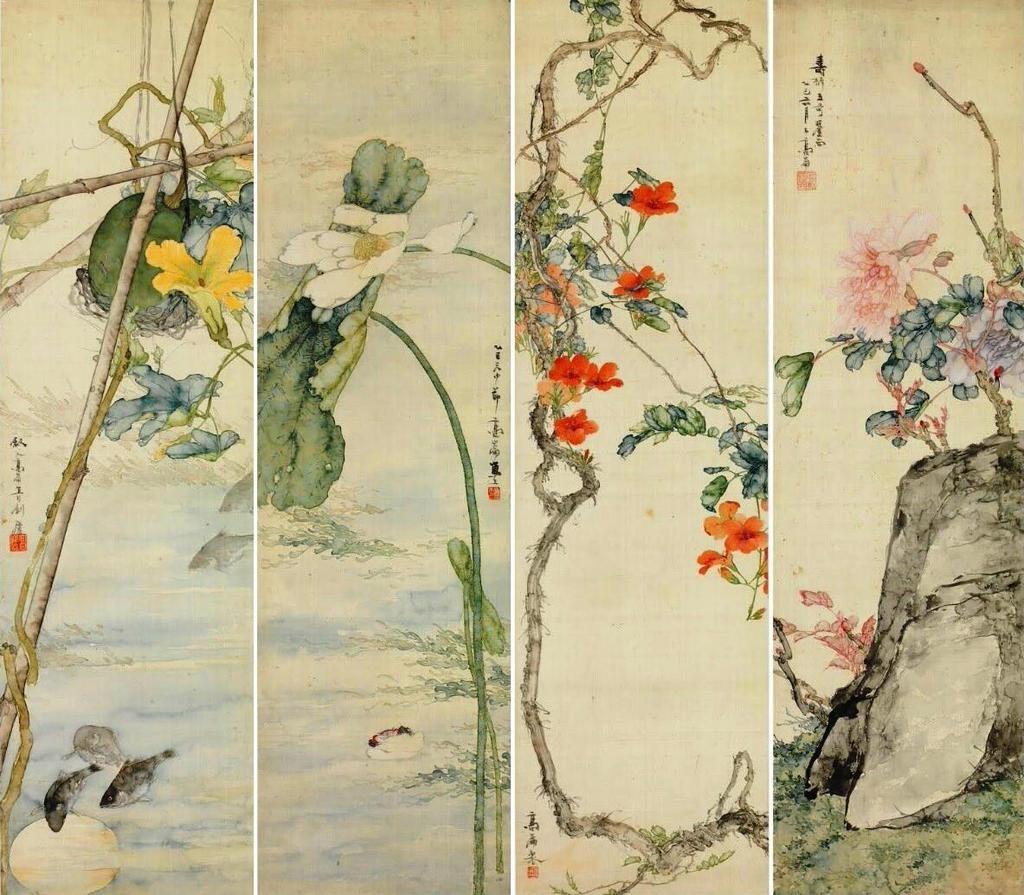 Gao Jianfu  Fleurs, Melon, Poissons et Insectes