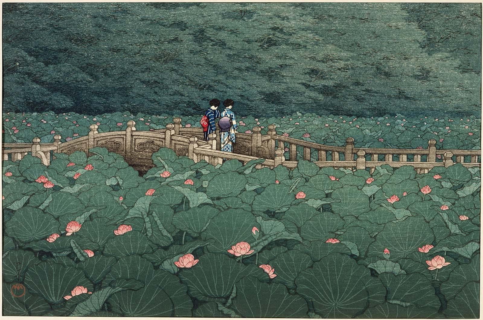 Hasui Kawase L'Étang au sanctuaire de Benten à Shiba. CLIQUER POUR AGRANDIR