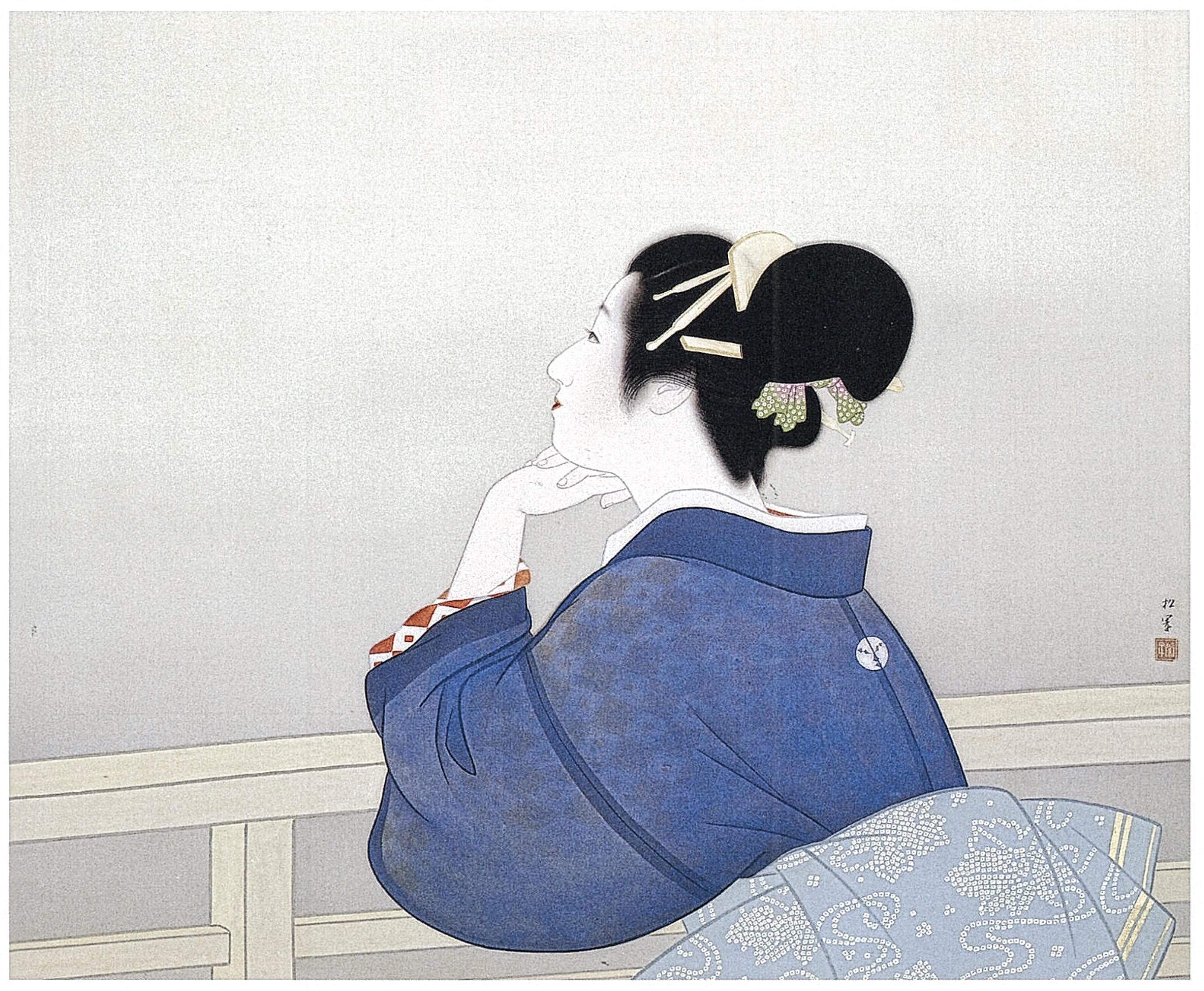 Uemura Shoen  Femme attendant le lever de lune