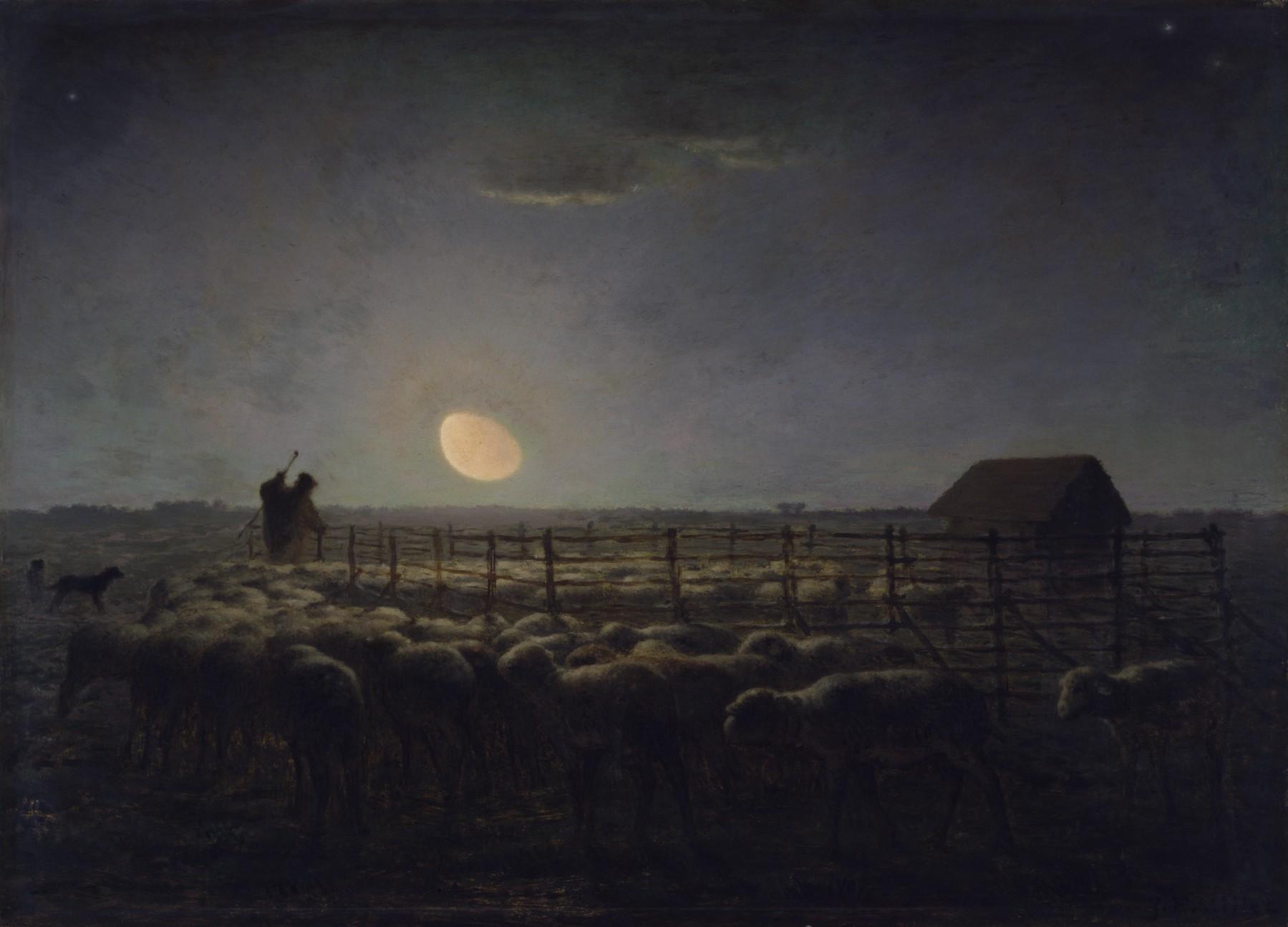 Jean-François Millet La Bergerie, Claire de lune (1)