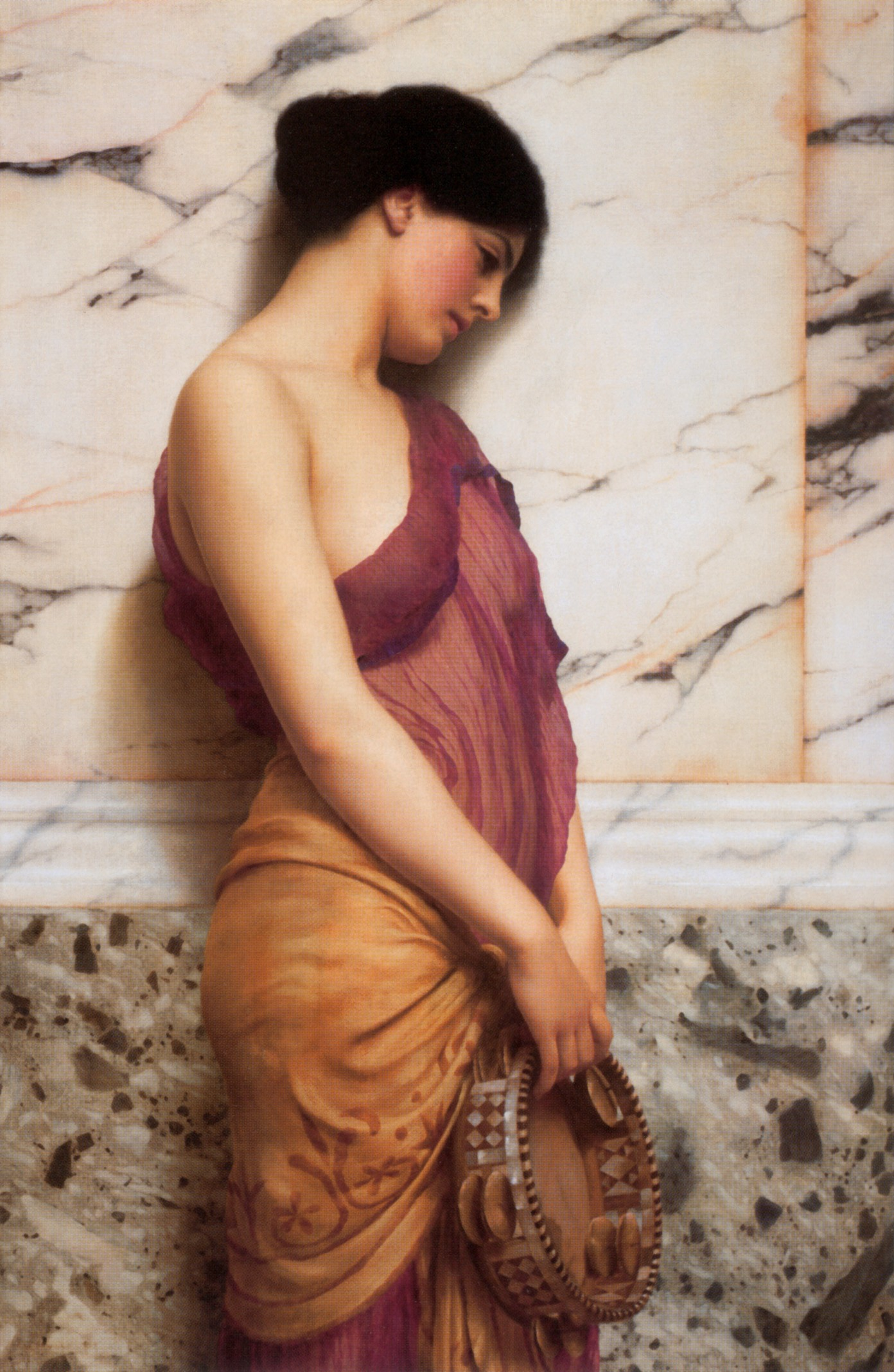 John William Godward La Fille au tambourin