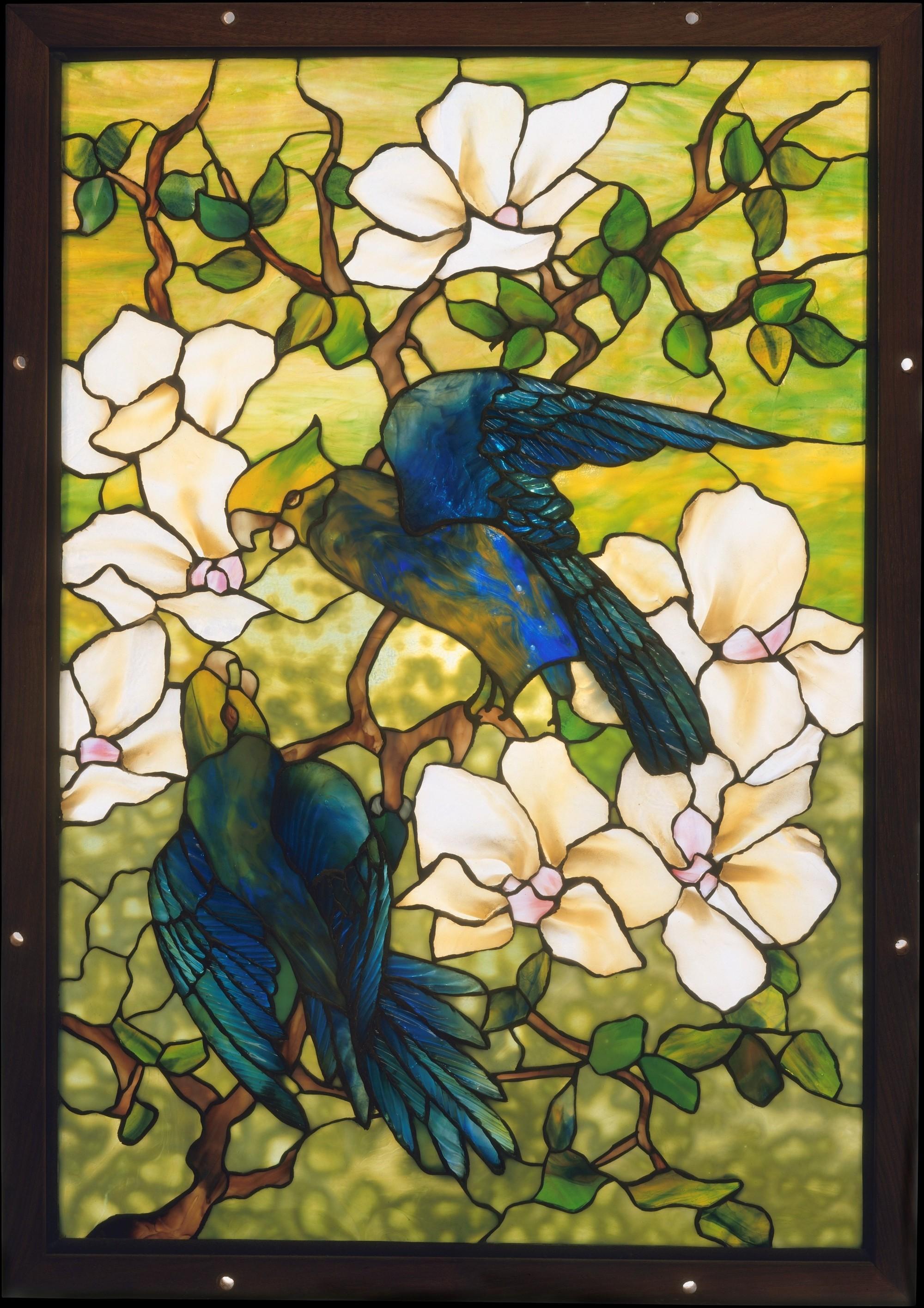 Louis Tiffany Hibiscus et Perroquets