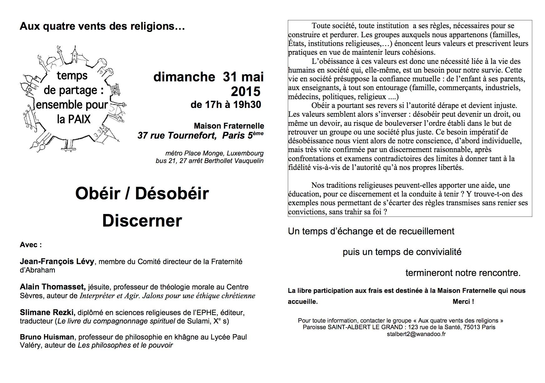 OBEIR DESOBEIR DISCERNER 31 MAI 17H MAISON FRATERNELLE
