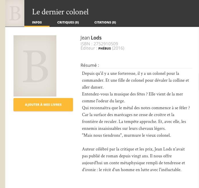 LE DERNIER COLONEL, par Jean LODS, EDITIONS PHEBUS