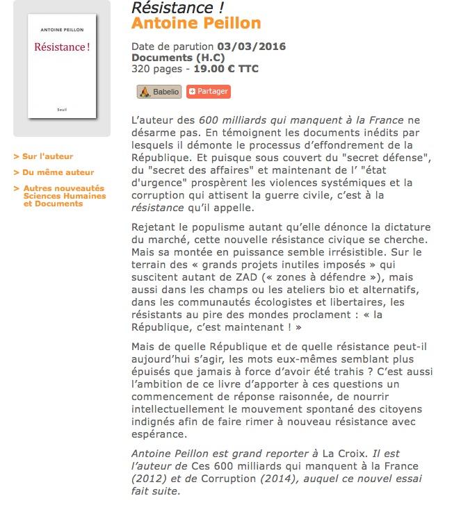 RESISTANCE ! par Antoine PEILLON, Seuil